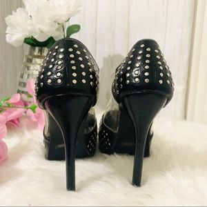 Shoe Dazzle Shoes - Shoedazzle City Black Silver Stud Heels Pumps